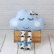 Poduszka chmurka z oczami i nóżkami niebieska