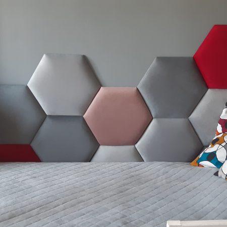 Panele tapicerowane sześciokąty